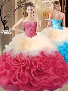 Best Red Ball Gowns Sweetheart Sleeveless Fabric With Rolling Flowers Floor Length Lace Up Beading and Ruffles 15 Quinceanera Dress