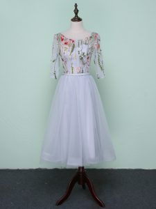 Cute Embroidery Damas Dress Grey Lace Up Half Sleeves Knee Length