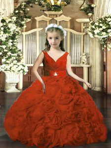 Admirable Rust Red Ball Gowns Beading and Ruching Glitz Pageant Dress Backless Fabric With Rolling Flowers Sleeveless Floor Length