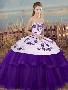 Sleeveless Tulle Floor Length Lace Up Quinceanera Gowns in White And Purple with Embroidery and Bowknot