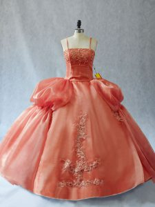 Rust Red Sleeveless Organza Lace Up Vestidos de Quinceanera for Sweet 16 and Quinceanera
