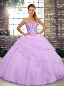 Noble Brush Train Ball Gowns Party Dresses Lilac Sweetheart Tulle Sleeveless Lace Up