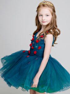 Teal Sleeveless Lace and Appliques Mini Length Little Girl Pageant Dress