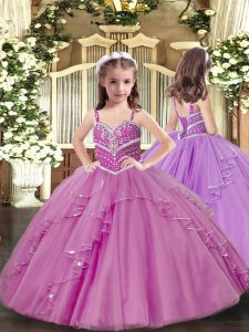 Lilac Tulle Lace Up Little Girls Pageant Dress Wholesale Sleeveless Floor Length Beading and Ruffles