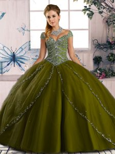 Sexy Olive Green Lace Up Sweetheart Beading Quinceanera Gowns Organza Cap Sleeves Brush Train
