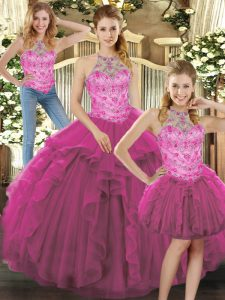 Fuchsia Lace Up Halter Top Beading and Ruffles Ball Gown Prom Dress Tulle Sleeveless