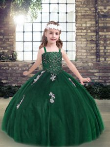 Hot Selling Dark Green Straps Neckline Appliques Kids Pageant Dress Sleeveless Lace Up