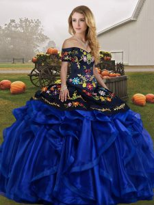 Organza Off The Shoulder Sleeveless Lace Up Embroidery and Ruffles Quinceanera Gown in Blue And Black