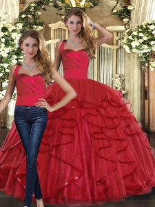 Charming Sleeveless Tulle Floor Length Lace Up 15th Birthday Dress in Red with Ruffles