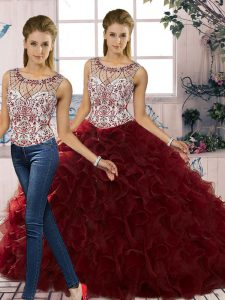 Sleeveless Floor Length Beading and Ruffles Lace Up Quinceanera Gown with Burgundy