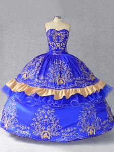 Royal Blue Sleeveless Floor Length Embroidery and Bowknot Lace Up Sweet 16 Dress