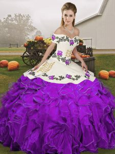 Embroidery and Ruffles Quinceanera Dress White And Purple Lace Up Sleeveless Floor Length