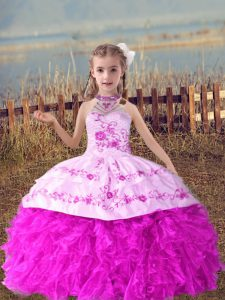 Sleeveless Beading and Embroidery and Ruffles Lace Up Custom Made Pageant Dress
