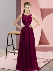 Scoop Sleeveless Court Dresses for Sweet 16 Floor Length Beading and Appliques Dark Purple Chiffon