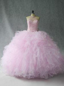 Best Selling Tulle Sleeveless Floor Length Sweet 16 Quinceanera Dress and Beading and Ruffles