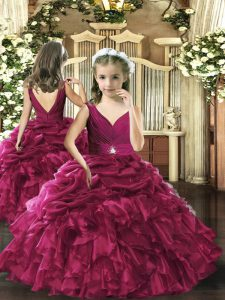 Organza V-neck Sleeveless Backless Beading and Ruffles and Pick Ups Kids Formal Wear in Fuchsia