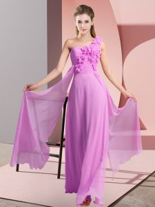 Lilac Empire Hand Made Flower Dama Dress Lace Up Chiffon Sleeveless Floor Length
