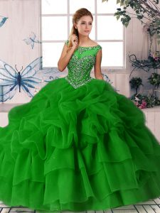 Traditional Organza Sleeveless 15 Quinceanera Dress Brush Train and Beading and Pick Ups