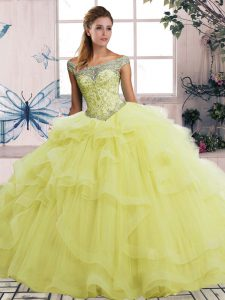 Yellow Tulle Lace Up Off The Shoulder Sleeveless Floor Length Sweet 16 Quinceanera Dress Beading and Ruffles