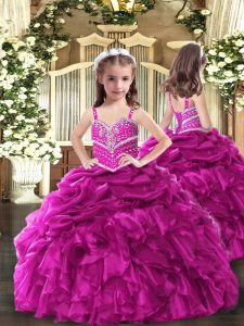 Trendy Fuchsia Organza Lace Up Straps Sleeveless Floor Length Little Girls Pageant Dress Beading and Ruffles