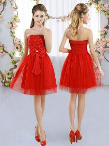 Sumptuous Tulle Strapless Sleeveless Side Zipper Beading and Bowknot Dama Dress for Quinceanera in Red