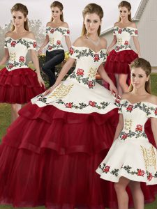 Beauteous Wine Red Lace Up Off The Shoulder Embroidery and Ruffled Layers 15th Birthday Dress Tulle Sleeveless Brush Train