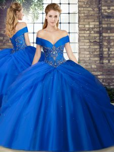 Popular Royal Blue Sleeveless Beading and Pick Ups Lace Up Quinceanera Dress