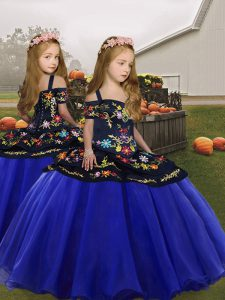 Low Price Royal Blue Sleeveless Embroidery and Ruffles Floor Length Pageant Dress Toddler