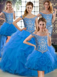 Off The Shoulder Sleeveless Tulle Ball Gown Prom Dress Beading and Ruffles Brush Train Lace Up