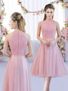 High Class Pink Sleeveless Tulle Zipper Dama Dress for Quinceanera for Wedding Party