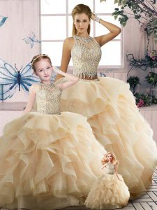 Floor Length Two Pieces Sleeveless Champagne 15 Quinceanera Dress Zipper