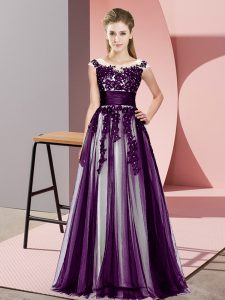 Dark Purple Sleeveless Floor Length Beading and Lace Zipper Quinceanera Court of Honor Dress