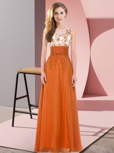 Orange Red Chiffon Backless Scoop Sleeveless Floor Length Damas Dress Appliques