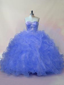 Sleeveless Beading and Ruffles Lace Up 15th Birthday Dress