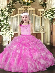 Sleeveless Organza Floor Length Zipper Pageant Dress for Girls in Lilac with Beading and Ruffles