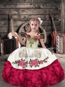 Great Coral Red Organza Lace Up Little Girl Pageant Gowns Sleeveless Floor Length Beading and Embroidery and Ruffles