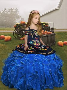 Blue Ball Gowns Straps Sleeveless Organza Floor Length Lace Up Embroidery and Ruffles Pageant Dress for Womens