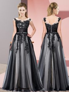 Fine Floor Length Black Court Dresses for Sweet 16 Tulle Sleeveless Beading and Lace