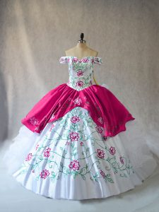 Exquisite Pink And White Organza Lace Up Off The Shoulder Sleeveless Floor Length Quinceanera Dresses Embroidery and Ruffles