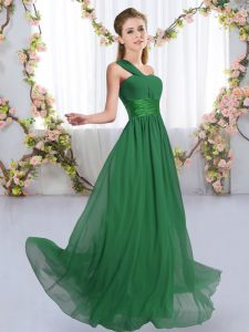 Fine Dark Green Sleeveless Floor Length Ruching Lace Up Vestidos de Damas