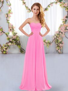 Modest Floor Length Rose Pink Quinceanera Court of Honor Dress Sweetheart Sleeveless Lace Up