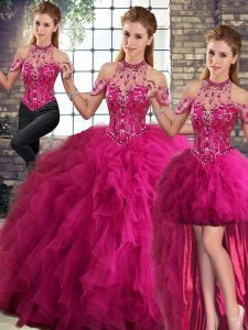 Hot Sale Fuchsia Halter Top Neckline Beading and Ruffles Quinceanera Dress Sleeveless Lace Up