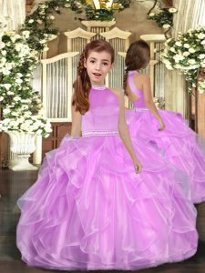 Hot Selling Lilac Little Girl Pageant Gowns Party and Sweet 16 and Wedding Party with Beading and Ruffles Halter Top Sleeveless Backless