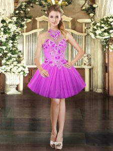 Flare Sleeveless Embroidery Lace Up Prom Party Dress