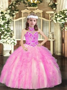 Lilac Lace Up Little Girls Pageant Gowns Appliques Sleeveless Floor Length