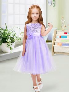 Tea Length Lavender Little Girl Pageant Gowns Organza Sleeveless Sequins and Hand Made Flower