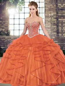 Noble Floor Length Ball Gowns Sleeveless Rust Red Party Dress for Girls Lace Up
