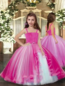 Lilac Sleeveless Tulle Lace Up Little Girls Pageant Gowns for Party and Sweet 16 and Wedding Party