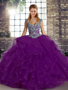 Extravagant Purple Ball Gowns Beading and Ruffles Sweet 16 Dresses Lace Up Tulle Sleeveless Floor Length