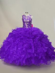 Flare Purple Lace Up Scoop Ruffles and Sequins Quinceanera Gown Organza Sleeveless